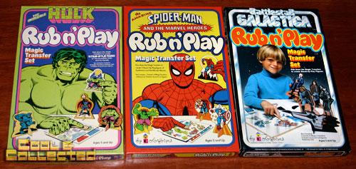 colorforms hulk, spiderman, battlestar galactica rub n' play