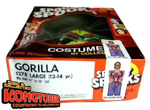 collegeville king kong gorilla costume mask box