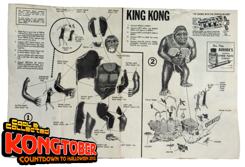 vintage 1966 king kong aurora model kit instructions