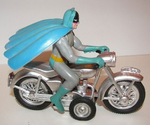 vintage batman riding motorcycle toy