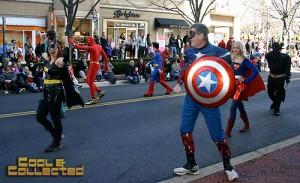 reston holiday parade superheroes cosplay