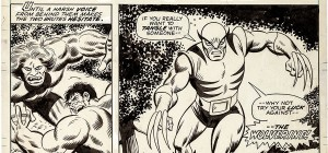 incredible hulk with wolverine first appearance #180 - original art by herb Trimpe