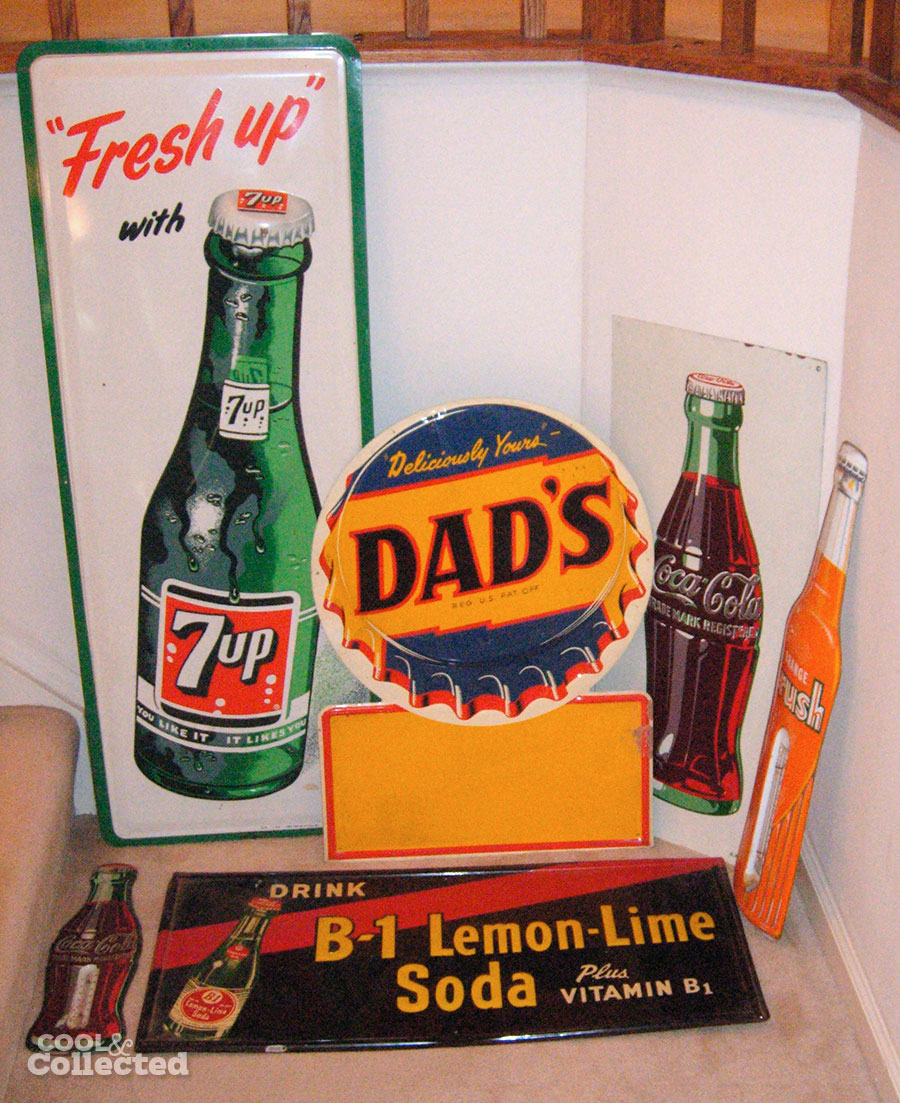 vintage metal soda signs