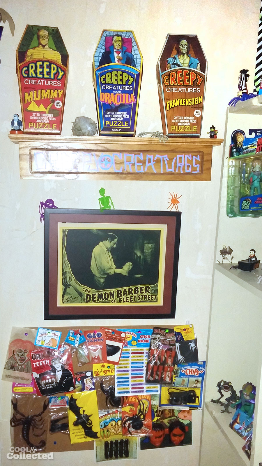 Vintage monster toys and poster
