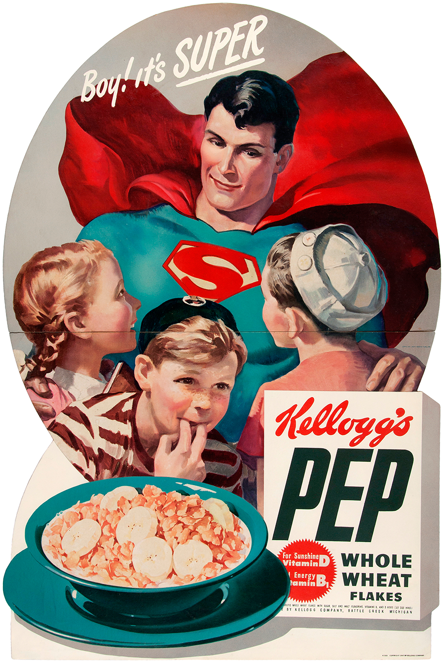 kelloggs pep cereal superman store display