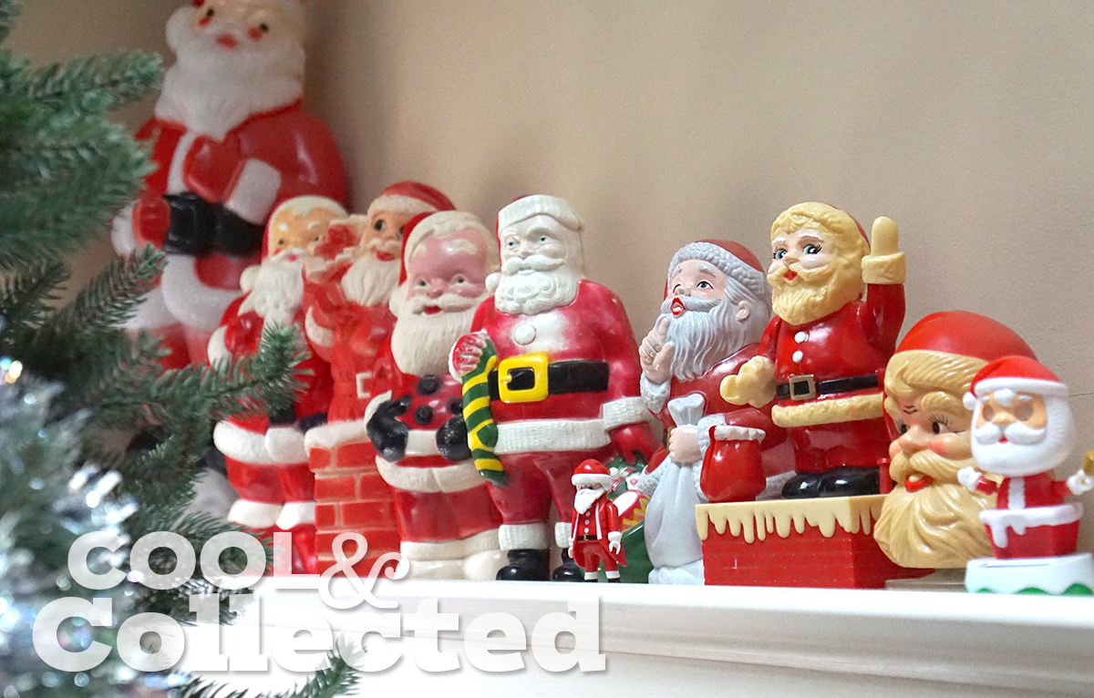 vintage blow-mold santa collection