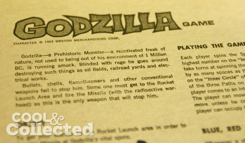 Godzilla board game by Ideal 1963 instructions