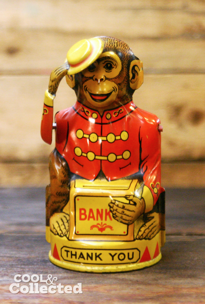 vintage tin litho tipping hat monkey coin bank